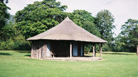 The thatched pavilion in Jack's painting is now standing at Brettenham in Suffolk