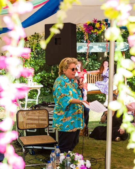 Sandi Toksvig, co-founder of the Primadonna Festival, speaking at the first event in 2019