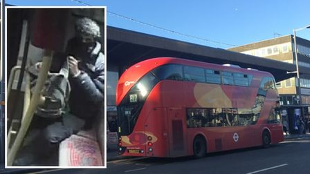 CCTV image of a man police wish to speak to and an EL2 bus outside Barking station