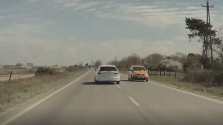 A Volvo driver narrowly avoided a head-on crash on the A143 at Earsham.