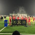 Leyton Orient Women celebrate Isthmian Cup success (pic: Leyton Orient Supporters' Club/Keren Harris