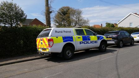 Police vehicles attended the scene at Chapel Road, Saxmundham