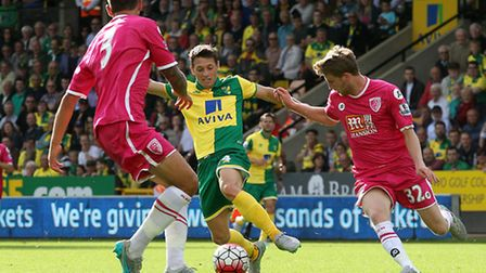 Wes Hoolahan of Norwich and Eunan O'Kane of Bournemouth in action during the Barclays Premier League