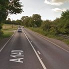A motorcycle and a car have crashed on the A140 at Stoke Ash