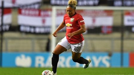 Manchester United's Lauren James in action during the Barclays FA Women's Super League match at Leig