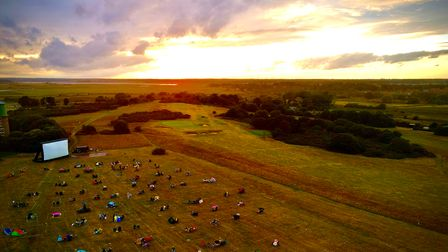 Southwold Cinema at sunset on Southwold Common. Pictured at last year's socially distanced event