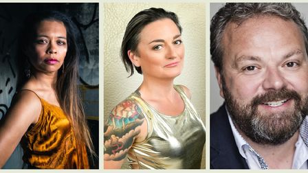 Comic line-up on May 19...Ria Lina as MC (left) with Zoe Lyons and Hal Cruttenden