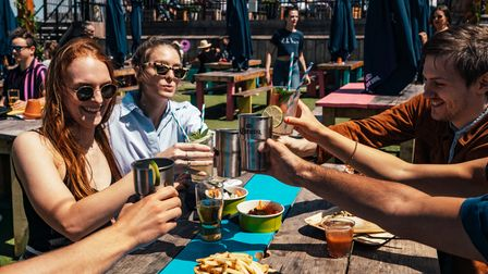 Cheers... revellers get ready for Skylight's reopening at Tobacco Dock