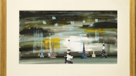 Obelisks by John Piper, part of the Modern British Painters exhibition at the Thompson's Gallery in Aldeburgh
