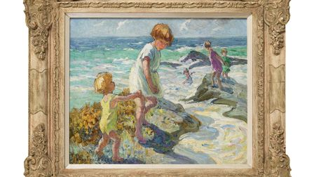 Beach Scene by Dorothea Sharp, part of the Modern British Painters exhibition at the Thompson's Gallery in Aldeburgh