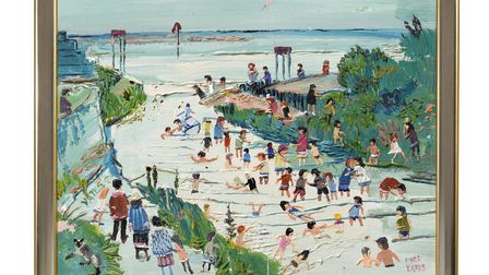 Water Play Scene by Fred Yates, part of the Modern British Painters exhibition at the Thompson's Gallery in Aldeburgh