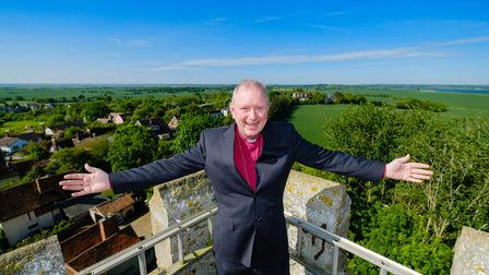 14/05/18The Bishop of Colchester, The Right Reverend Roger Morris, on top of Peldon Church tower, S