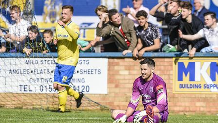 FA Cup action from King's Lynn Town v Wroxham at The Walks - Lee Stevenson gets his second goal of t