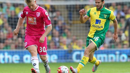 Matt Ritchie of Bournemouth and Matt Jarvis of Norwich in action during the Barclays Premier League