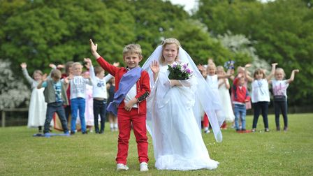 Tyler and Lizzie celebrating the royal wedding at Helmingham Primary School