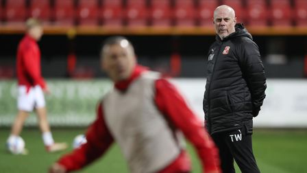 Swindon Town's first team coach Tommy Wright during the Sky Bet League One match at the Energy Check