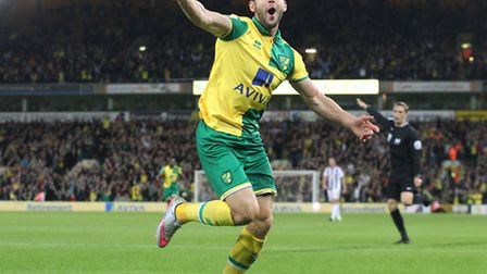 Matt Jarvis slammed Norwich City in front in Wednesday's 3-0 Capital One Cup win over West Brom. Pic