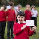 Children at Bacton Primary School are taking part in the Captain Tom 100 Challenge, by writing postc