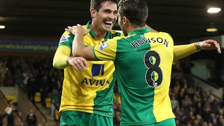 Kyle Lafferty scored in Norwich City's 3-0 Capital One Cup win against West Brom. Picture by Paul Ch