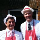Tony Perkins (right), with Bob Kidd at the opening of Hewitts Butchers in Mattishall 2008.