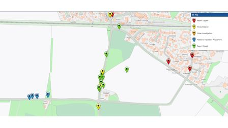 The Suffolk Highways reporting tool for potholes shows a number have bene reported around Fishwick Corner
