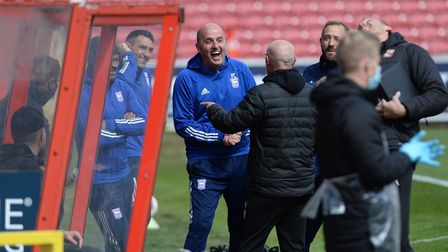Paul Cook in good spirits just before the start of the game against Swindon Town