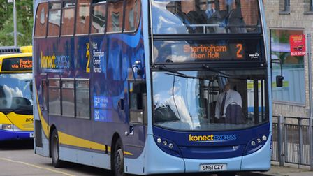 No.2 Konectbus service to Holt leaves Norwich Bus Station. Picture by SIMON FINLAY.