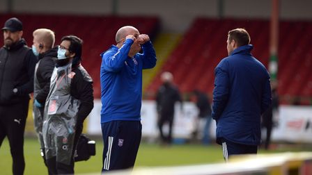 Ipswich Manager Paul Cook celebrates the win over Swindon Town