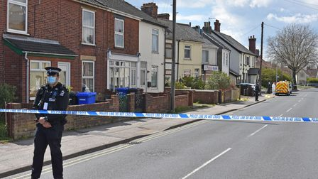 Police units remain on scene on St Peter's Street in Lowestoft