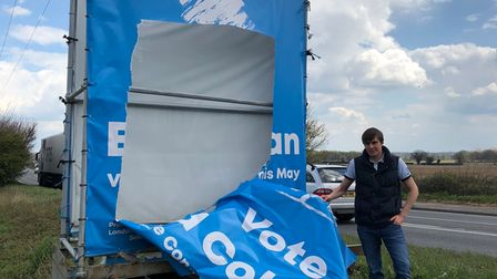 Ed Colman found his election campaign signs on the A47 at Sporle slashed through on Sunday morning.