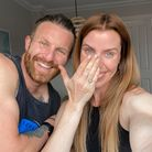 Carly Rowena, pictured with her husband after losing being reunited with her lost wedding ring