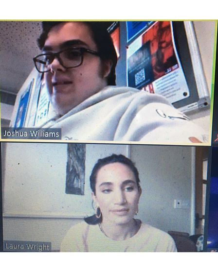Laura Wright was interviewed by West Suffolk College business studentsElla Nunn and Joshua William