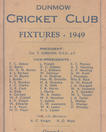 Dunmow Cricket Club from 1949 when they played at the Recreation Ground, The Causeway.