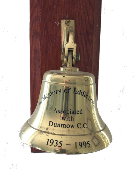 The Bell in Dunmow Cricket Club pavilion, in memory of Eddie Scott