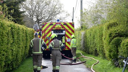 Fire engines lined the narrow streets in Thwaite as crew members tackled the blaze