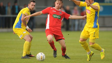 Danny Beaumont in 2014 action for Wisbech Town. Picture: IAN BURT