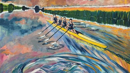One of the entries in Ely-Hereward Rotary Club's community art project: The Joy of Rowing.