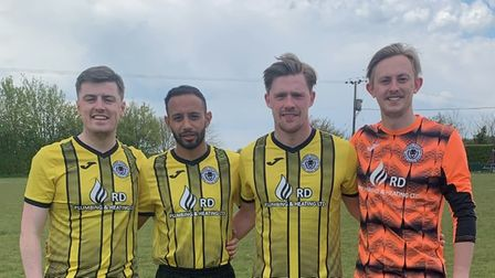 Christian Roles, Emilio Caceres-Sola, Jake Sutton and Harrie Irving of High Easter Football Club