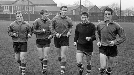 The Ipswich Town forward line training in Feburary 1967. They are Joe Broadfoot, Danny Hegan, Ray Cr