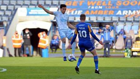 Andre Dozzell in action at Shrewsbury Town.
