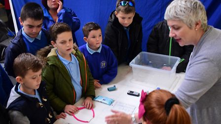 George White Junior School children learn what is needed in an Emergency Kit box from Alison Sayer,