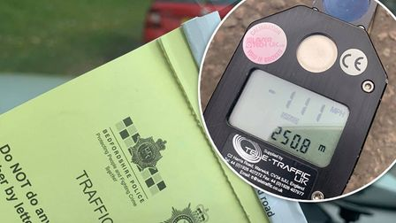 The reckless driver was caught speeding at 111mph on the A1M at Peterborough