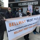 Bellway protesters outside the company's office in fielders quarter