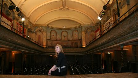 On stage in the grand auditorium at the restored Wilton's Music Hall