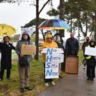 Protestors outside the QEH hospital in Kings Lynn, organised by Kings Lynn Trades Council.Byline: S