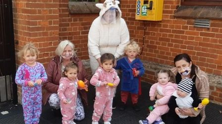 People in Haddenham joining in with the PJ Day