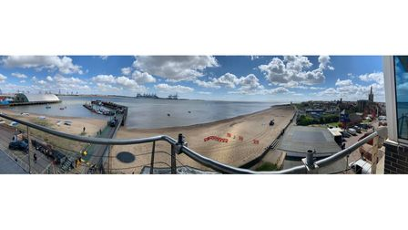 A panorama view of Harwich International Port where filming for Slow Horses took place yesterday