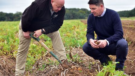 Connor McVeigh, (right) Director of Supply Chain at McDonald's, visits Andrew Francis, Senior Farm M