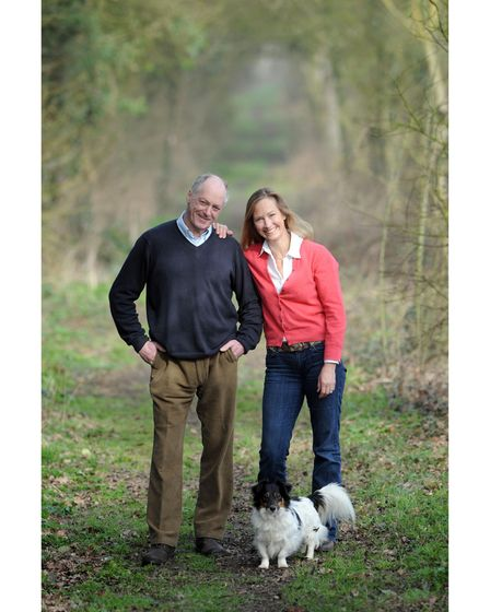 Terence Blacker with his partner Angela and Ruby the dog