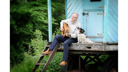 Songwriter Terence Blacker and Ruby the dog